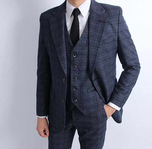 S. ido check suit (navy)