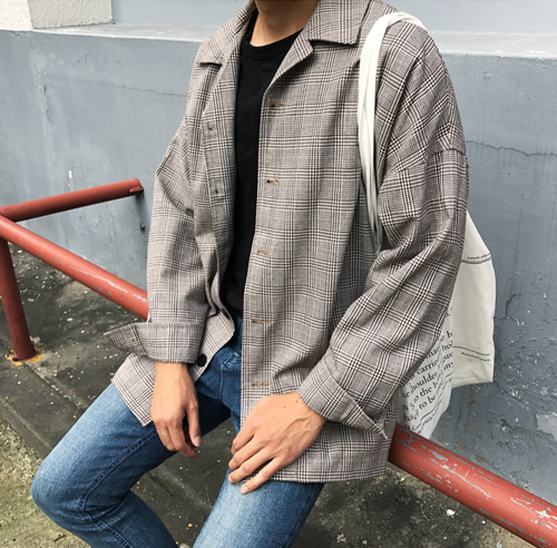 BROWN CHECK OVER SHIRT JK (BEIGE)