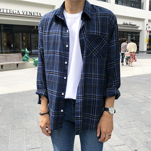 NAVY OSK CHECK OVER FIT SHIRT