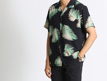 LEAF SILK OPEN SHIRT (2 COLOR)