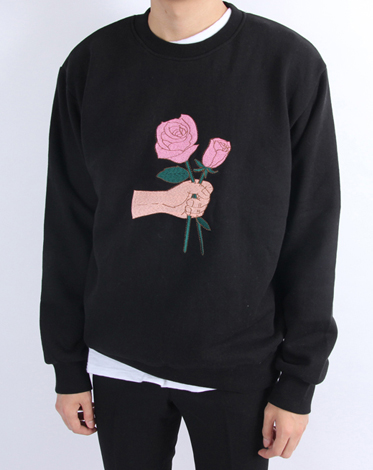 rose detail sweat shirts (2 color) (당일배송)