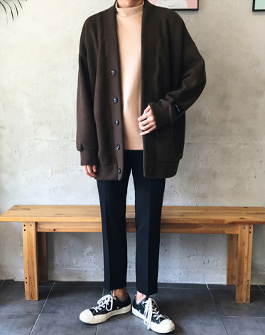 WOOL BROWN OVER CARDIGAN JK (2 COLOR)